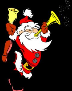 Santa blowing horn. ringing bell, while dancing