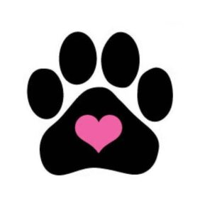 dog paw print with heart
